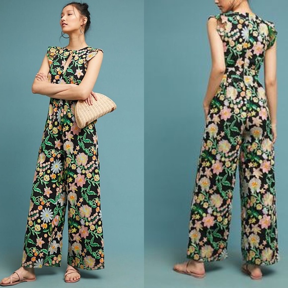 8310aede440 SALE Anthro Poppy Embroidered Jumpsuit Monique Lhu